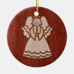 Rojo del ángel de la Cuero-Mirada Ornamentos De Navidad