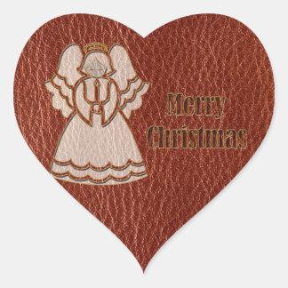 Rojo del ángel de la Cuero-Mirada Pegatina En Forma De Corazón