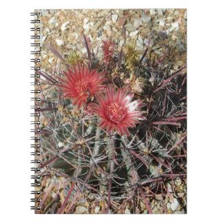 Rojo del anzuelo del cactus de barril spiral notebooks