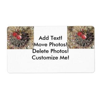 Rojo del anzuelo del cactus de barril etiquetas de envío