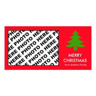 Rojo del árbol de la tarjeta de la foto de familia tarjeta fotográfica personalizada