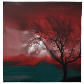 rojo del árbol de la visión servilleta de papel