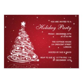 Rojo del árbol de navidad de la invitación de la