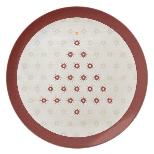 Rojo del árbol de navidad del modelo de estrella plato de cena