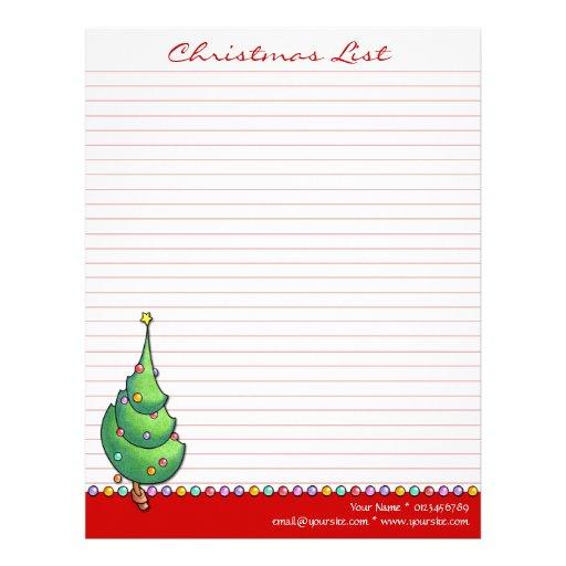 Rojo del árbol de navidad para hacer la lista membrete a diseño