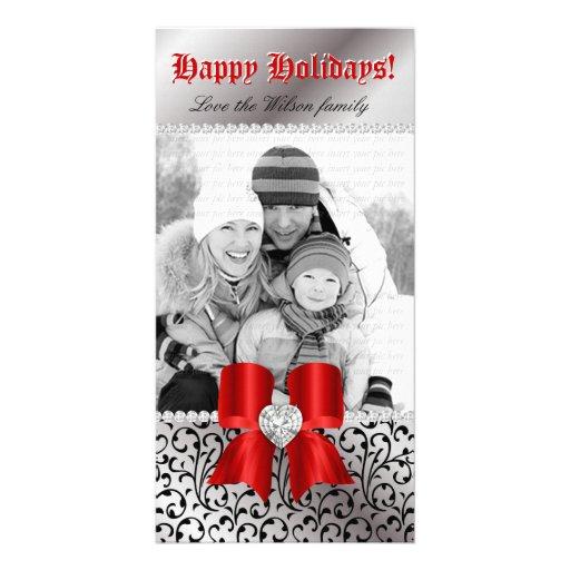 Rojo del arco de la joya del negro del remolino de tarjeta fotografica