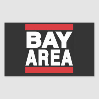 Rojo del área de la bahía rectangular pegatina
