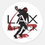 Rojo del ataque de LAX de los chicas de LaCrosse Etiquetas Redondas
