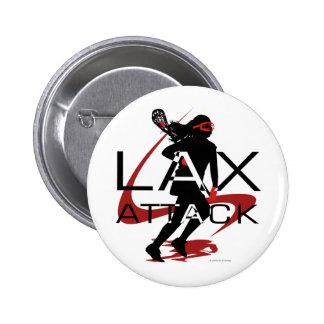Rojo del ataque de LAX de los chicas de LaCrosse Pin Redondo De 2 Pulgadas