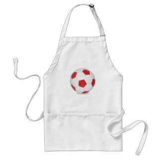 Rojo del balón de fútbol delantal