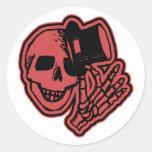Rojo del caballero del sombrero de copa del cráneo pegatina redonda