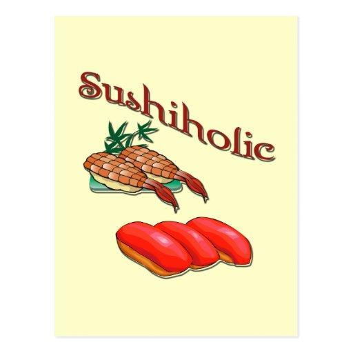 Rojo del camarón y del atún de Sushiholic Tarjetas Postales