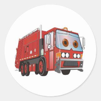 Rojo del camión de basura del dibujo animado pegatina redonda