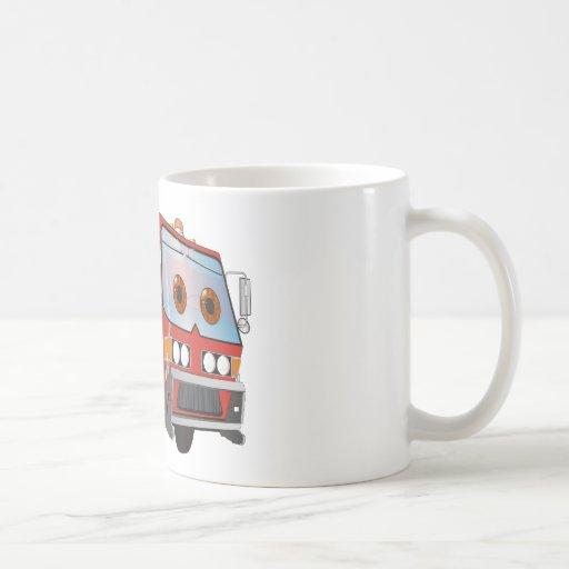Rojo del camión de basura del dibujo animado taza básica blanca