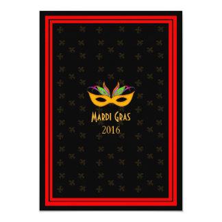 """Rojo del carnaval del jazz de New Orleans Invitación 5"""" X 7"""""""