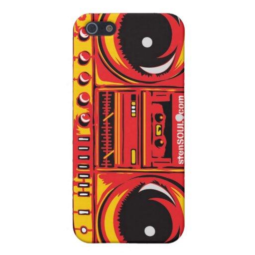 ROJO del caso de EYEPhone 4 del equipo estéreo por iPhone 5 Carcasa