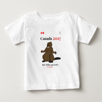 Rojo del castor de Canadá 150 en 2017 Playera De Bebé