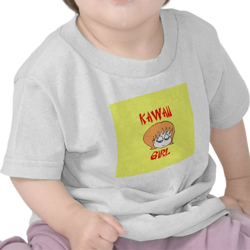 rojo del chica del kawaii camiseta