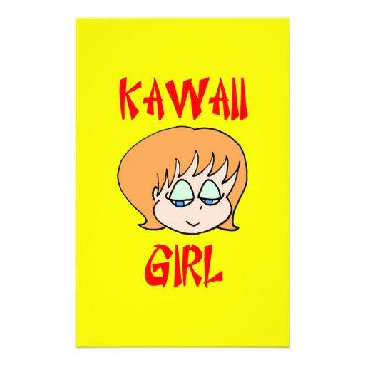 rojo del chica del kawaii papelería de diseño