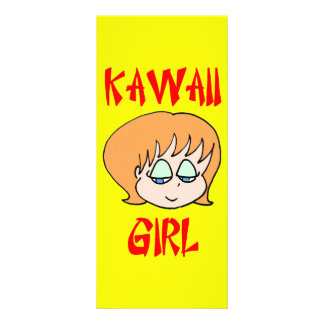 rojo del chica del kawaii plantillas de lonas