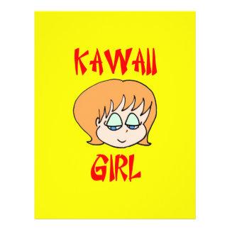 rojo del chica del kawaii tarjeta publicitaria