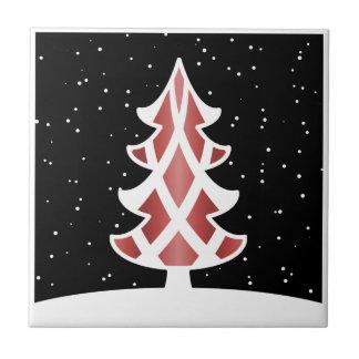 Rojo del cielo Nevado de las cintas del árbol de n Azulejo Cuadrado Pequeño