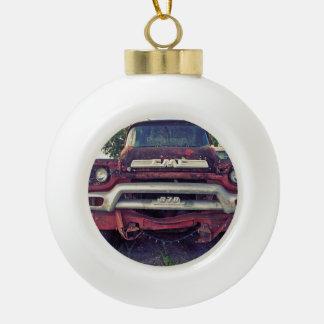Rojo del coche de bomberos adorno de cerámica en forma de bola