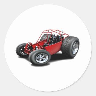 Rojo del coche de playa pegatina redonda