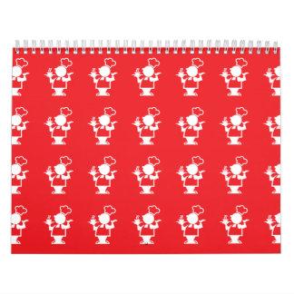 Rojo del cocinero calendario de pared