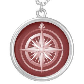 Rojo del collar de la plata esterlina del compás d