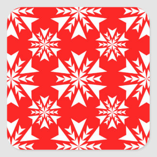 Rojo del copo de nieve 13 pegatina cuadrada