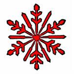 Rojo del copo de nieve 1 del ornamento del navidad esculturas fotograficas