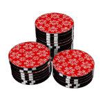 Rojo del copo de nieve 6 fichas de póquer