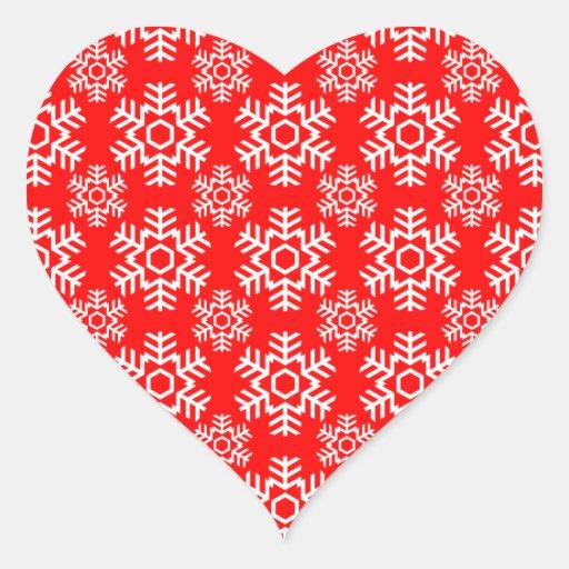 Rojo del copo de nieve 6 colcomanias de corazon personalizadas
