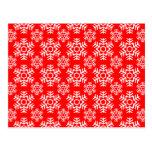 Rojo del copo de nieve 6 postal
