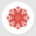 Rojo del copo de nieve pegatina redonda