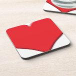 Rojo del corazón 1 posavasos