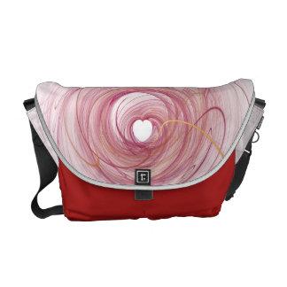 rojo del corazón bolsas de mensajeria
