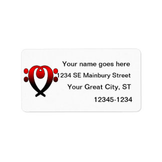 Rojo del corazón del clef bajo al negro etiquetas de dirección