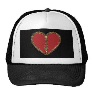 Rojo del corazón del rosario ningún logotipo gorras