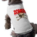 Rojo del cráneo del zombi playera sin mangas para perro