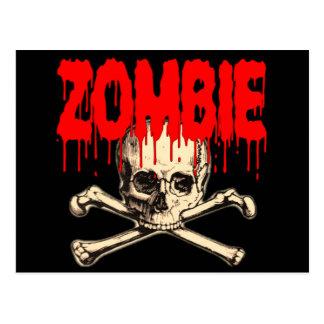 Rojo del cráneo del zombi tarjetas postales