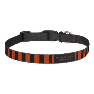 Rojo del cuello de perro y rayas negras nombre y p collar para perro
