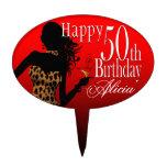 Rojo del cumpleaños del leopardo del PRIMERO de la Decoraciones De Tartas