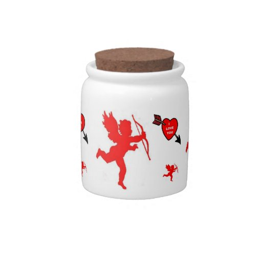 Rojo del Cupid y del corazón del tarro de la invit Jarra Para Caramelo