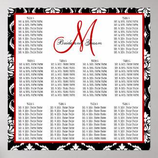 Rojo del damasco de la carta del asiento del boda  póster