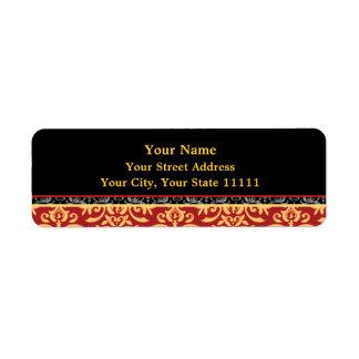 Rojo del damasco, negro y vuelta dorados elegantes etiqueta de remite