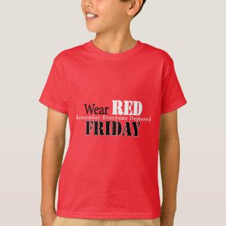Rojo del desgaste el viernes playera