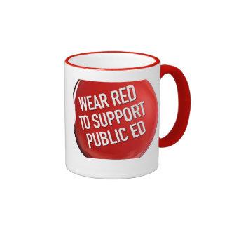 Rojo del desgaste para apoyar a Ed público. taza