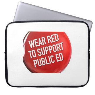 Rojo del desgaste para Ed. piel del ordenador port Funda Portátil